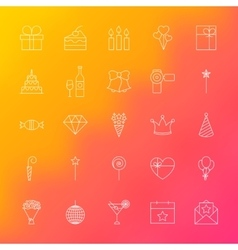 Party Time Line Icons vector