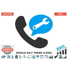 Phone service message flat icon with 2017 bonus vector