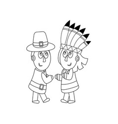 piligrims and indians coloring page vector image