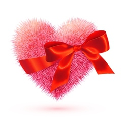 Pink fluffy heart with red bow vector