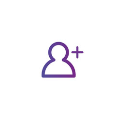 purple linear outline add person icon add user vector image