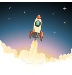 Rocket start to open space vector image