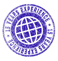 scratched textured 15 years experience stamp seal vector image
