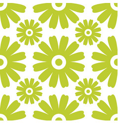 seamless floral pattern repeated green flowers vector image