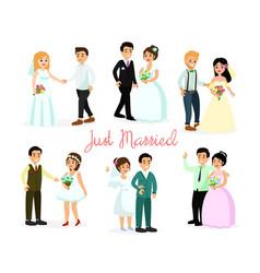 set happy characters bride vector image