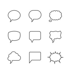 set line icons of speech bubble vector image