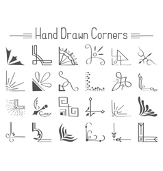 Set of 24 hand drawn corners and design elements vector
