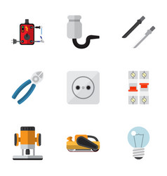 Set of 9 editable electrical flat icons includes vector