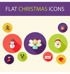 Set of Five Flat Circle Christmas Icons vector image