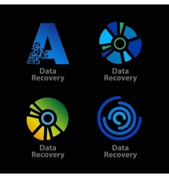 Set of isolated blue and green data recovery vector