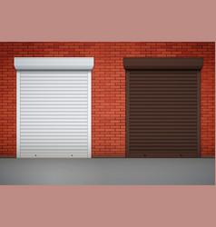 set of roller shutters on window vector image