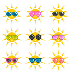 Set of sun icons with sunglasses vector