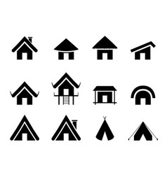 set of traditional home icon in minimal vector image