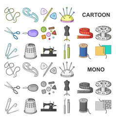 Sewing atelier cartoon icons in set collection vector
