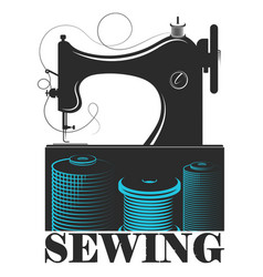 sewing machine and spool thread design vector image