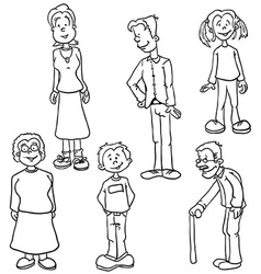 simple black and white family set vector image