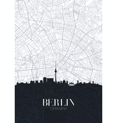 Skyline and city map berlin detailed urban vector