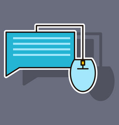 Sticker with speech bubble symbol chat icon vector