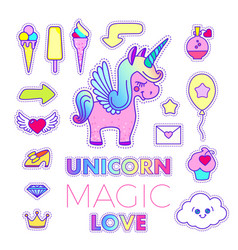 stickers set with unicorn arrow shoe letter vector image