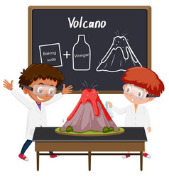Student volcano science experiment vector