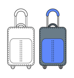 suitcase and luggage flat color icon object vector image