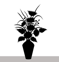 Sunflowers-and-Vase Silhouette vector image