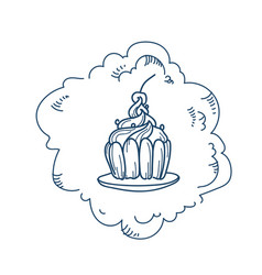 sweet cupcake icon on white background sketch vector image