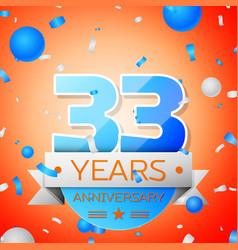 Thirty three years anniversary celebration vector