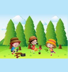 three kids planting and watering the flowers vector image