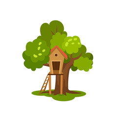Treehouse wooden hut on tree with ladder for kids vector