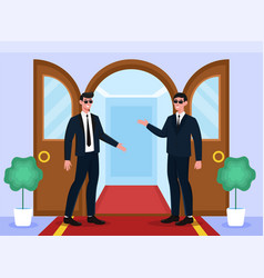 Two male smiling bodyguards are welcoming at doors vector
