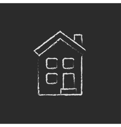 Two storey detached house icon drawn in chalk vector image