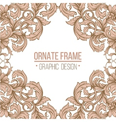 vintage border frame engraving with retro ornament vector image