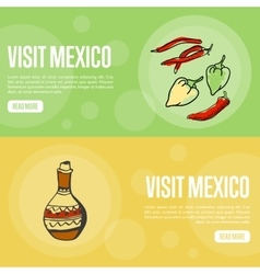 Visit Mexico Touristic Web Banners vector image