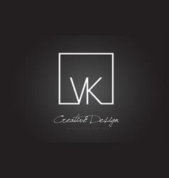 vk square frame letter logo design with black and vector image