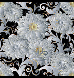 White 3d flowers vintage seamless pattern vector