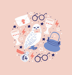 White owl holding letter in claw round glasses vector