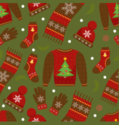 Winter apparel seamless pattern christmas clothes vector