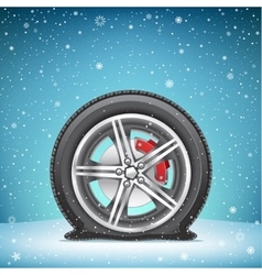 winter flat tire on snow background vector image