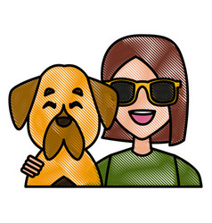 woman with dog cartoon vector image