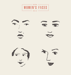 Women s faces contours paintbrush sketch vector