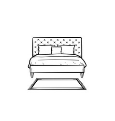 bed with pillows hand drawn sketch icon vector image