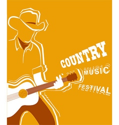 Country music festival poster with musician vector image vector image