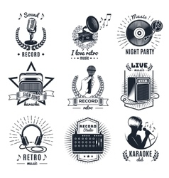 Karaoke Elements Monochrome Vintage Emblems vector image