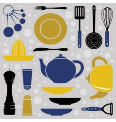 Kitchen collection retro style vector image vector image