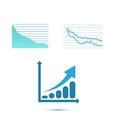 Set of three growth charts vector image