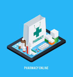 tablet pharmacy online concept vector image