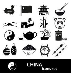 China theme black icons set eps10 vector image vector image