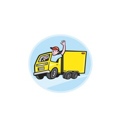 Delivery Truck Driver Waving Cartoon vector image vector image