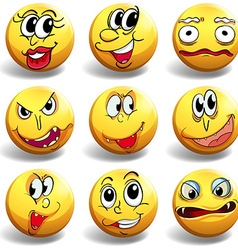 Facial expression on yellow ball vector image vector image